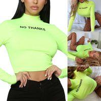 Wholesale turtles cap resale online - Women Turtle Neck Tops Long Sleeve No Thanks Short Stretch Blouse