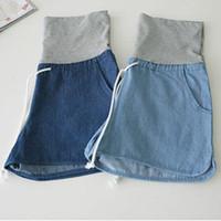 Wholesale korean maternity clothes resale online - Maternity Denim Korean Version Loose Casual Shorts Jeans Plus Size Clothes Pregnant Nursing Belly Women Pants Maternity Pants Y19052003