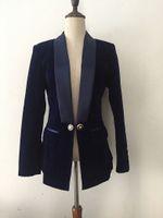 koyu mavi kadifeli toptan satış-2019 Siyah safir koyu mavi V Yaka ince kadife takım elbise ceket yaz sonbahar bahar kış Seksi akşam Parti Bodycon wholesa
