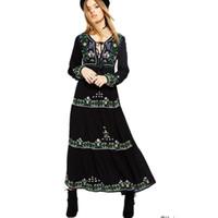 siyah desenli elbise toptan satış-Yeni 2019 a line v boyun siyah bohemian pist maxi dress kadınlar nakış desen ile uzun kollu kat uzunluk kadınlar dress