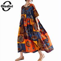 ingrosso lunghe tuniche di cotone-Oladivi Oversize Dress per Donna Plus Size Casual Lino Cotone Maxi Long Dress Donna Bohemian Abiti Tunica Donna Vestido 8XL