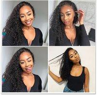 afro bebek saç dantel perukları toptan satış-Dantel Ön Peruk Bebek Saç ile Afro Kinky Kıvırcık Perulu İnsan Saç Siyah Kadınlar için Tam Dantel Peruk