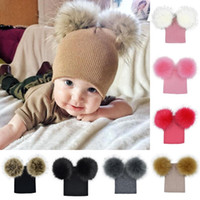 Wholesale beanies for girls ball for sale - Winter Baby Knitted Hat With Two Fur Pompoms Boy Girls Fur Ball Beanie Kids Double Pom Cap for Children