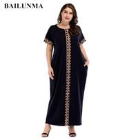 islamische kleider mode großhandel-Mode Print Maxikleid gestrickte muslimische Abaya volle Skrit lose Kimono lange Robe Kleider Ramadan Nahen Osten arabische islamische Kleidung