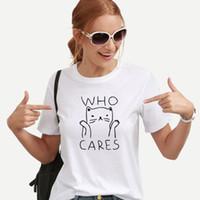 kadınlar beyaz tişörtler toptan satış-Bayan Giyim Kadın Gömlek Tişörtler Kadınlar Komik T Shirt Kadınlar Yaz Vintage Tee Gömlek Femme Kawaii Siyah Beyaz Tshirts Pamuk Kadınlar