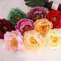 moda para el hogar flor artificial al por mayor-DIY 14CM flores artificiales de seda principal de la manera Peony cabezas de flor de la boda de fiesta flor de la simulación Decoración TTA1809