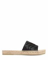 sandalias de mujer de oro negro al por mayor-Zapatillas de moda para mujer Alpargata de cuero Sandalias negras corredizas de 10 mm de cuero con detalle de logotipo en metal dorado