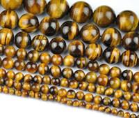 halskette stränge großhandel-Großhandel Natürliche Tigerauge Runde Lose Stein Perlen Für Schmuck Machen Diy Armband Halskette 4/6/8 / 10mm Strang 15 ''