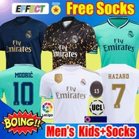 Wholesale red sports jersey resale online - Real Madrid Soccer Jersey HAZARD MODRIC REINIE Camiseta BALE ISCO EA Sports Fourth Jerseys RODRYGO Football Shirt kids Socks