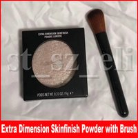 Wholesale skinfinish powder for sale - Group buy M Face Makeup Pressed Powder Extra Dimension Skinfinish Make Up Highlighter Shimmer Bronzers Powder With Brush