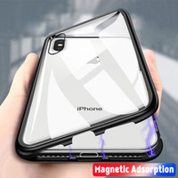 Wholesale clear iphone 6s plus case online - PC Frame Magnetic Adsorption Tempered Glass Back Panel Phone Cover Case For iPhone XR XS MAX iPhone X s Plus
