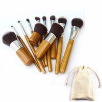bambu makyaj fırçaları ele toptan satış-Bambu Kolu Makyaj Fırçalar Set Profesyonel Kozmetik Fırça kitleri Vakfı Göz Farı Fırçalar Seti Makyaj Araçları 11 adet / takım RRA744