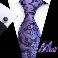 ingrosso matrimonio grigio giallo-New Fashion Plain Floral Tie da uomo 8cm Silk Cravatta Set Blu Verde Purple Yellow Grey Wedding rosso Solid Tie Hanky Gemelli Set