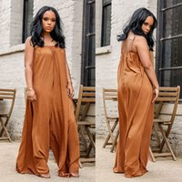 Wholesale pure wear clothing for sale - Group buy Women s Large Code Wear Sexy Wrap Chest Pure Color Camisole One piece Clothing Leisure Time Easy Broad legged Trousers Conjoined Pants