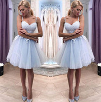 Wholesale cocktail dresses applique for sale - Group buy 2019 Spaghetti Straps Gray Blue Lace A Line Homecoming Dresses Tulle Applique Knee Length Short Prom Party Cocktail Dresses