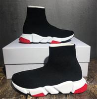 stricken wanderschuhe großhandel-Günstige Frauen Herren Socke Geschwindigkeit Trainer Schuhe Sneakers Stricken Slip-on Hohe Qualität Lässig Wanderschuh Komfort Alle Schwarz Chaussures