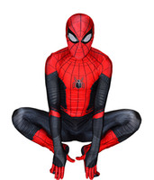 alta qualidade miúdos trajes venda por atacado-Traje de Halloween Longe De Casa Homem Aranha Traje Lycra Spandex Alta Qualidade Spiderman Cosplay Terno Para Adulto / Crianças