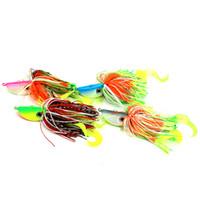 jig saias venda por atacado-Hengjia multi-cores 60g chumbo cabeça polvo jigs isca de pesca iscas saias de borracha e cauda isca macia com olhos simulação 3d