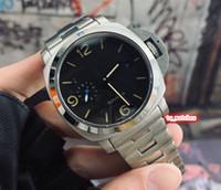 cara de plata reloj deportivo al por mayor-Reloj de pulsera superior con correa de acero inoxidable para hombre Reloj de pulsera de cara negra Reloj mecánico automático Automático Relojes deportivos