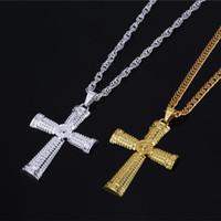 Wholesale tone necklaces resale online - Hip Hop Jewelry Men Necklace Color Gold Silver Tone Crucifix Charm Jewelry Alloy Cross Pendant Necklaces Beautiful cross necklace