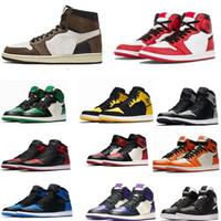 ingrosso scarpe alti designer-1 scarpe di alta OG Travis Scotts pallacanestro Spiderman UNC Mens omaggio alla Home Royal Blu di sport degli uomini di marca delle scarpe da tennis Formatori