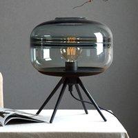 e27 klammer großhandel-Moderne amerikanische Glastischlampe kreative Schlafzimmer Nacht braun blau grau Glasschirm Lampe Eisen Halterung Leseschreibtisch