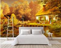 manzara yağlı boya güzel toptan satış-3d doğa duvar kağıtları Modern güzel rüya yağlıboya fairyland manzara duvar TV arka plan duvar