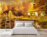 natureza pintura a óleo paisagem venda por atacado-3d natureza wallpapers Moderna bonita pintura a óleo de sonho paisagem de fadas paisagem mural TV fundo parede