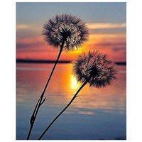 Wholesale paint numbers oil paintings for sale - Group buy Anti Stress Diy Easy Paint by Numbers Kit Sunset Dandelion Flowers Lake Framed Unframed Digital Canvas Painting for Adults Beginner