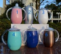 metallschüttlerbecher großhandel-9oz Kinder Wasserflasche Sippy Cups Doppelwandige Vakuumisolierte Edelstahlbecher Reisebecher mit Griffdeckel