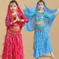 hint dans kıyafeti toptan satış-Çocuk Kız Oryantal Dans Kostümleri Çocuklar Oryantal Dans Kızlar Bollywood Hint Performans Bez Set El Yapımı Kız Hindistan Giysi