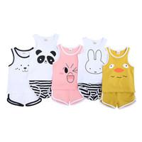 erkekler için rahat yelek toptan satış-Bebek Iki parçalı Takım Bebek Erkek Kız Karikatür Panda Tavşan Yelek Üst + Şort Yürüyor Pamuklu Giysiler Suits Yaz Çocuklar Moda Rahat Kıyafetler C