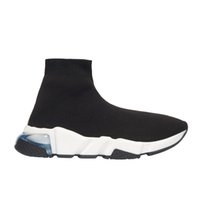 knit flats  venda por atacado-2020 Sneakers velocidade Clearsole Preto Jacquard Knit Branco Preto Graffiti Sole Plano Sock Botas Casual Shoes Speed ​​Trainer Runner