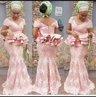 ingrosso roba soiree peplum-Abiti da sera a sirena rosa cipria africana con pizzo applique in pizzo peplo Plus Size Prom Dress Abiti da cerimonia lunghi formali robes de soirée