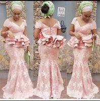 bata peplum al por mayor-Vestidos de noche de sirena rosada de Blush africano con apliques de encaje de peplum Vestido de fiesta de talla grande Vestidos de fiesta formales largos batas de fiesta