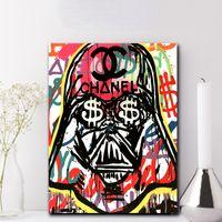oturma odası için sanat dekorasyonu toptan satış-Darth Vader Evil Poster Alec Tekel Resimleri Tuval Üzerine Modern Sanat Dekoratif Duvar Resimleri Için Oturma Odası Ev Dekorasyon