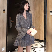moda mujer doble botonadura abrigo coreano al por mayor-Auttum Fashion Korean Women Blazer Jacket Nueva moda bolsillos a cuadros Coat Slim Slim Breasted Blazers Outwear