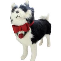 cadena de seguridad de plastico al por mayor-Correa de cuello ajustable de cuero con cuello de perro de mascota para campana PK / S #XJSY