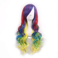 косплей парики женщин оптовых-75cm Colored Women Lady Long Hair Wig Curly Wavy Synthetic Anime Cosplay Party Full Wigs For Black White Women Cosplay or Party