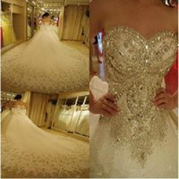 Wholesale sexy wedding dresses china for sale - Group buy Luxury Bling Wedding Dresses Cathedral Royal Train Shiny Crystal Rhinestones Stones Sequins Beading Bridal Ball Gown vestidos de novia china