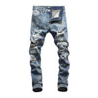 einzigartige produkt-designs großhandel-Herren Jeans Bottoms Tooling Denim 2019 neue Produkte Slim Fit Persönlichkeit komfortables Design Einzigartiges Loch vorne