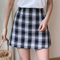 uniformes a cuadros de las mujeres al por mayor-Harajuku 2018 Summer Women Fashion Uniforme escolar Plaid A-line Mini falda Niñas Sexy Casual Balck Faldas a cuadros blancas