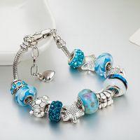 deniz yıldızı 925 bilezik toptan satış-Mavi sihirli boncuk bilezik 925 gümüş Pandora bilezik denizyıldızı kaplumbağa bilezik sihirli boncuk Pandora altın boncuk Diy takı olarak hediyeler