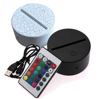 lâmpada led usb 5v venda por atacado-Luzes RGB Base de Lâmpada LED para Ilusão 3D Lâmpada 4mm Acrílico Painel de Luz AA Bateria ou DC 5V USB 3D noites luzes