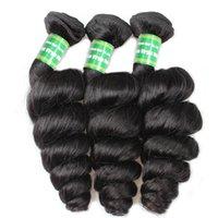 peruanischen webpackungen großhandel-Peruanische lose tiefe Welle 100% remy Haar 3 Stück Packung menschliche Haarwebart Bundles natürliche schwarze Farbe 8-28 Zoll