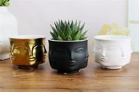 süs eşyaları seramik vazolar toptan satış-Adam Yüz çiçek vazo ev dekorasyon aksesuarları çiçekler için Modern seramik vazo Pot yetiştiricilerinin destek Toptan
