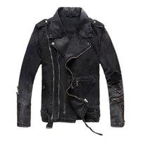 nueva chaqueta multi cremallera al por mayor-Chaquetas de mezclilla de hombre desgarrado con múltiples cremalleras Nueva moda Hi Street Streetwear chaqueta de motociclista desgastada con motocicleta desgastada