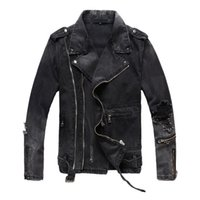 ingrosso jean moto giacca-Giacche di jeans strappati da uomo con cerniere multiple Nuova moda Hi Street Streetwear Distressed Motorcycle Biker Jeans Jacket