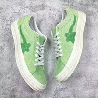 yıldızlara gel toptan satış-Sıcak Satış-Marka Yeni Tyler Oluşturan Bir Yıldız x Golf Le Fleur TTC Güneş Sarı Sneaker Eğitmenler Ayakkabı Rahat Ayakkabılar Kutusu Ile Gel