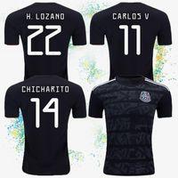 chicharito jersey mexico toptan satış-Meksika 2019-2020 Yeni Formalar ALTıN KUPASı Futbol Formaları Mejico Ev Siyah KITI 14 CHICHARITO 11 CARLOS 22 H.LOZANO Özelleştirilebilir futbol takım